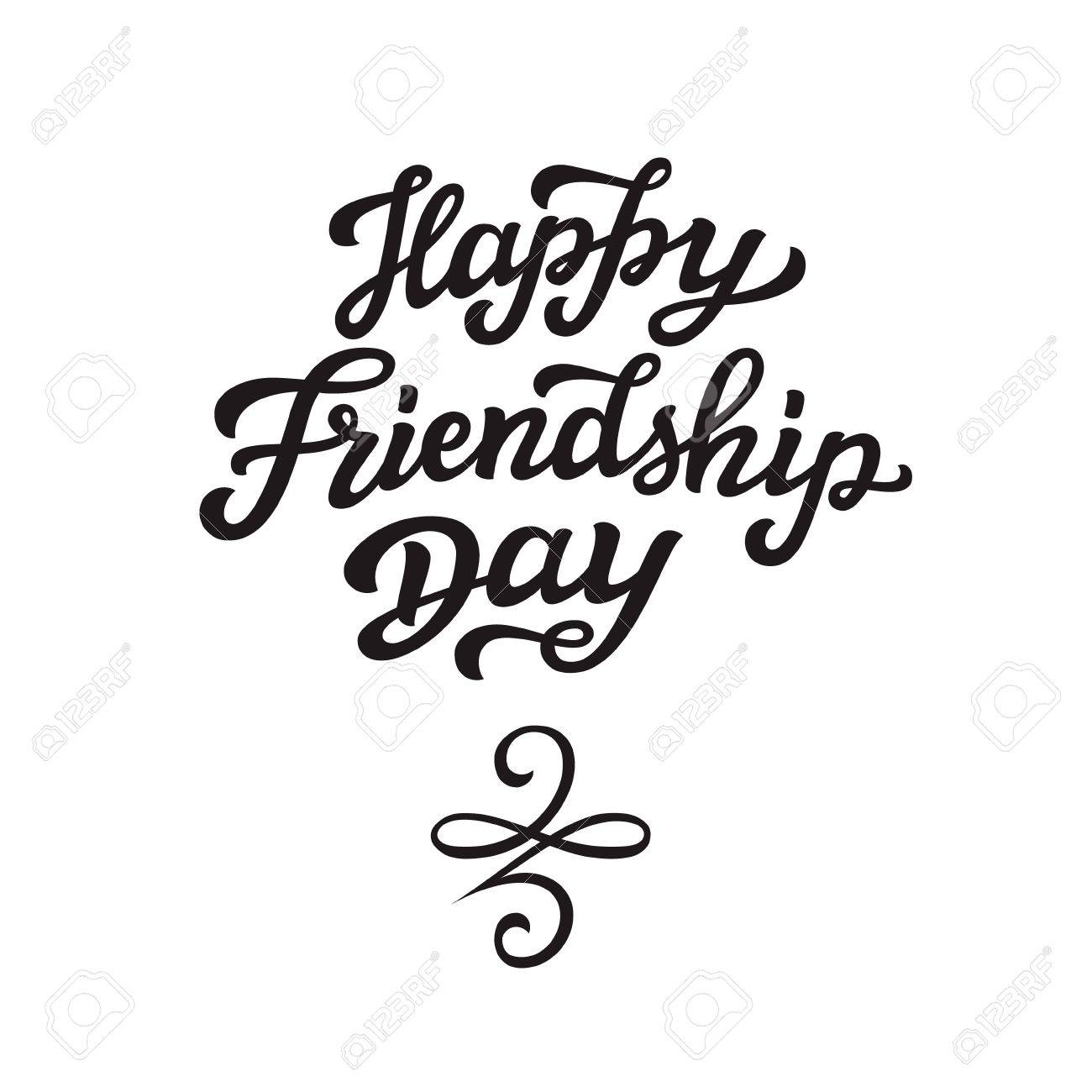 Happy Friendship Day Lettering Hand Drawn Typography Text With