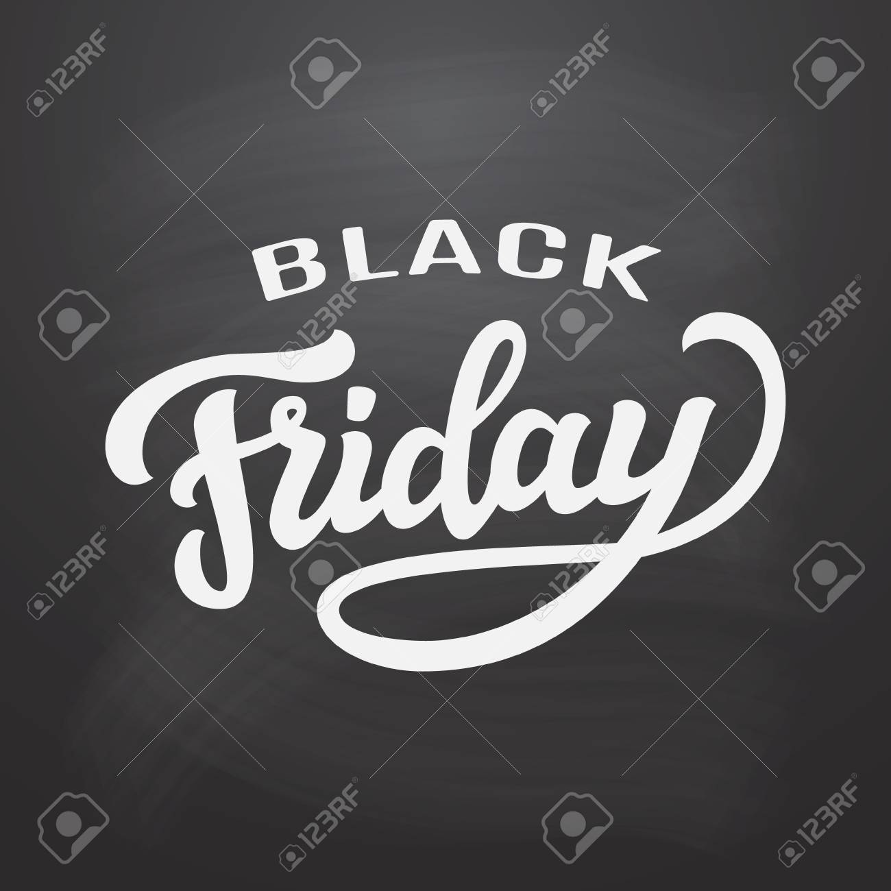 black friday typography template hand drawn lettering on chalkboard