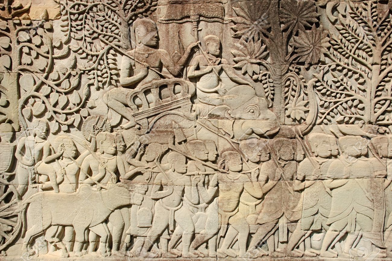 Carving stone wall at angkor thom stock photo picture and