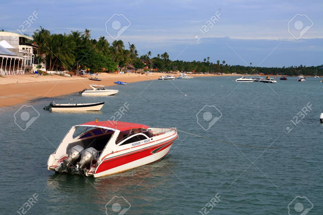 Red Speed Boat at Samui Island Thailand Stock Photo - 7516899