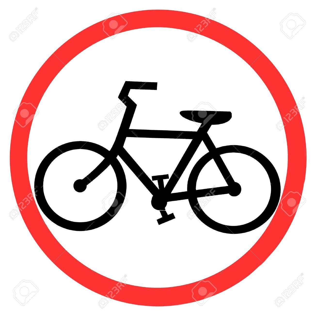 Symbol of Bicycle Lane Sign on White Background Stock Photo - 7601495