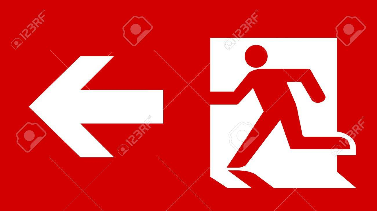 Symbol of fire exit sign with arrow isolated on red head left stock symbol of fire exit sign with arrow isolated on red head left stock photo 7629567 buycottarizona Images