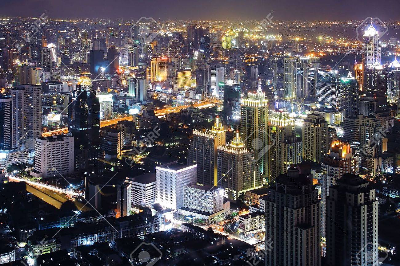 Bangkok Downtown Top View at night Stock Photo - 7770333