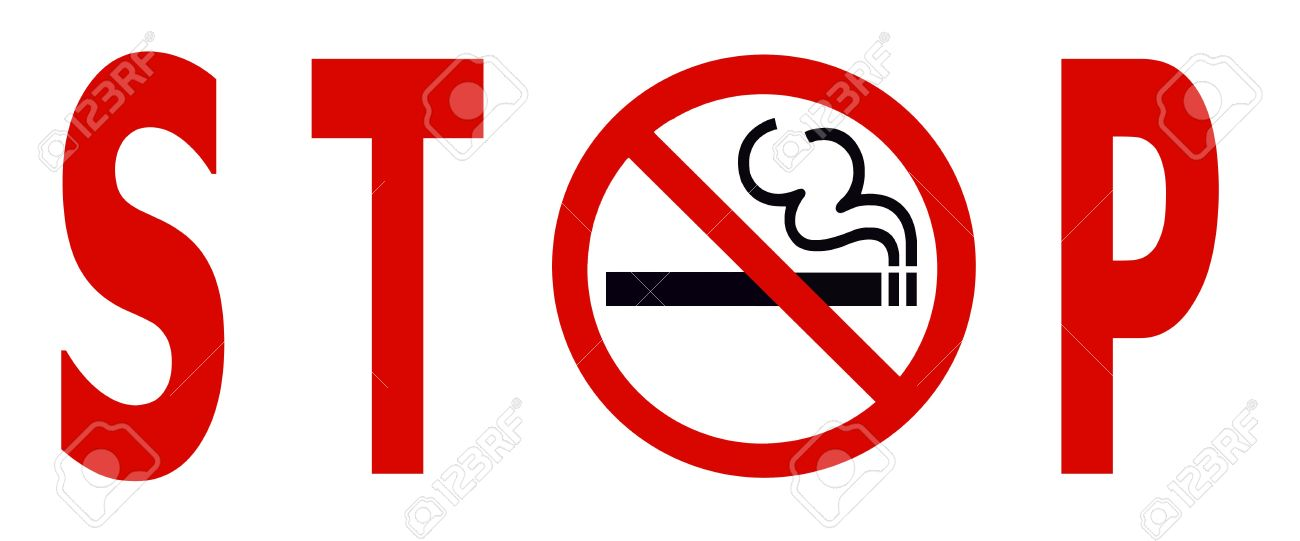 Symbol Of No Smoking Zone Stop Sign Isolated On White Stock Photo
