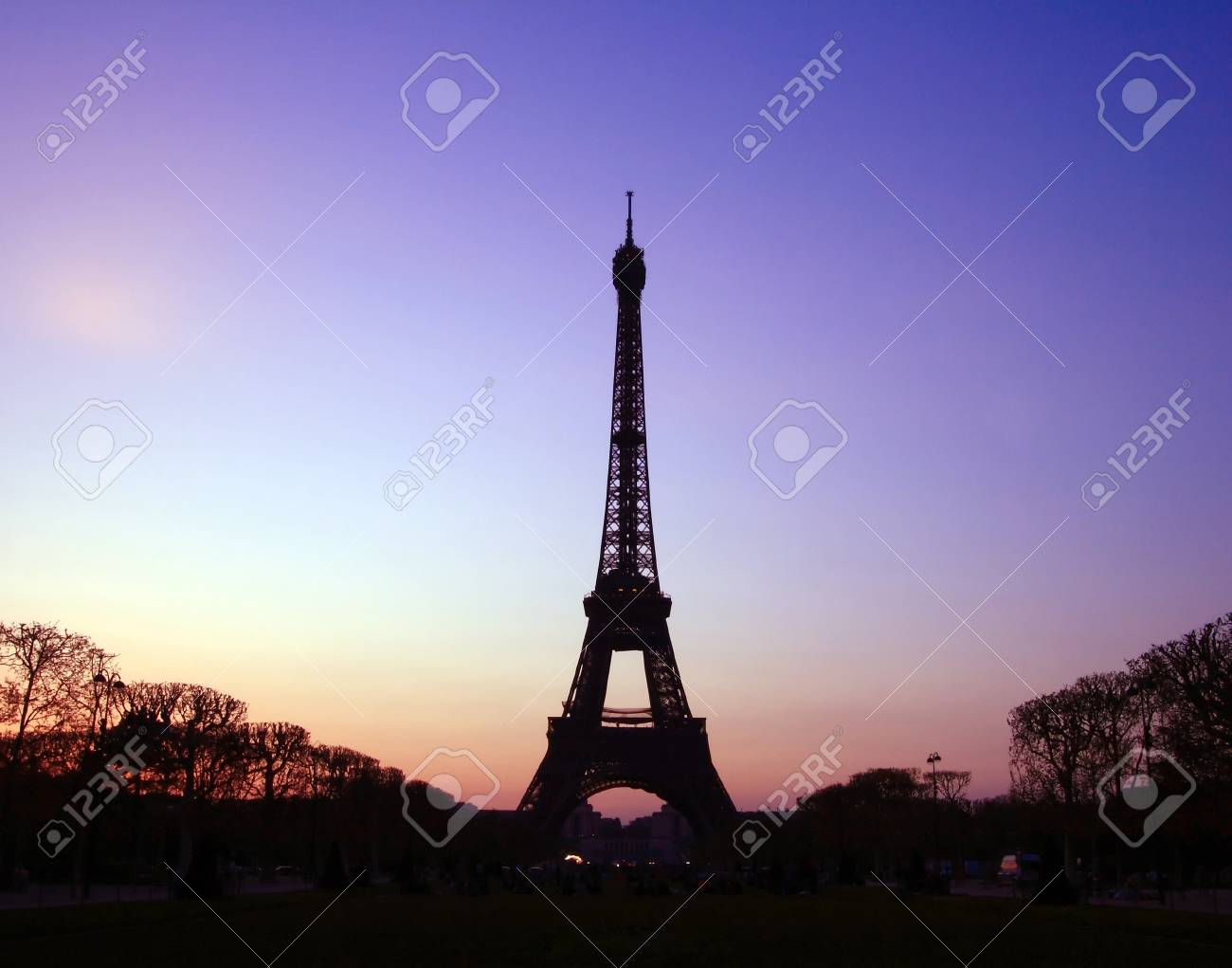 Silhouette of Eiffel Tower in the evening. The Eiffel tower is the most visited monument of France. Stock Photo - 8715032