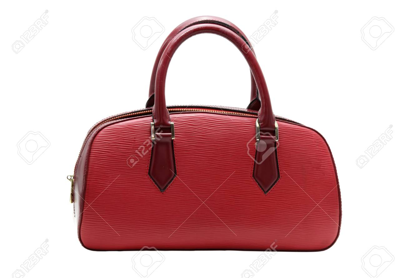 red fake leather woman bag Stock Photo - 9062692