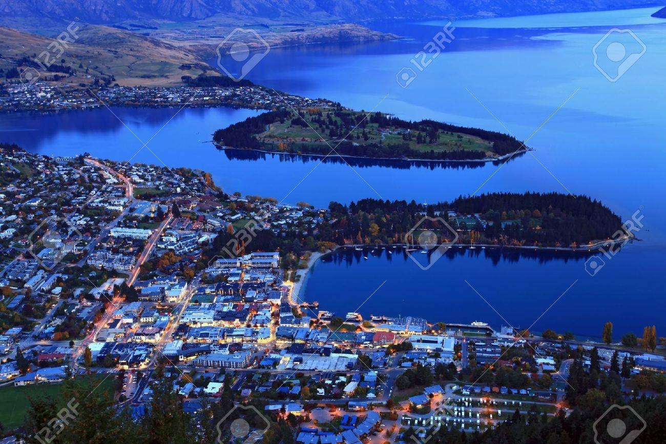aerial view of queenstown downtown at dusk Stock Photo - 9382363
