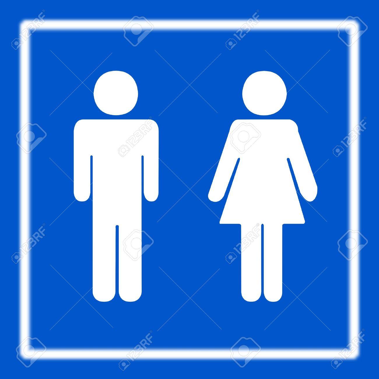 Toilette wc oder wc zeichen auf blau lizenzfreie bilder 9451535
