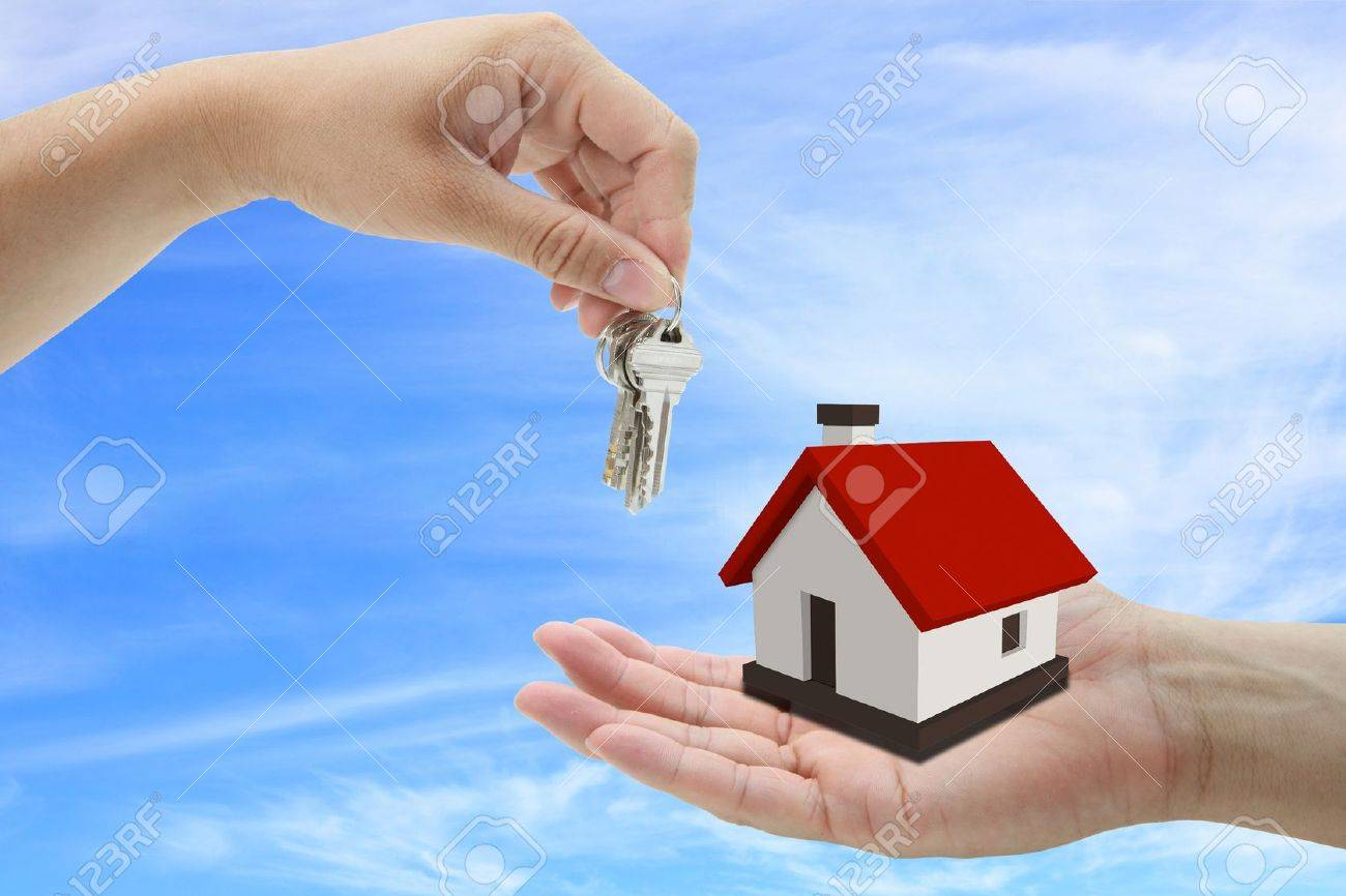 concept of buying house property with blue sky background Stock Photo - 10081985