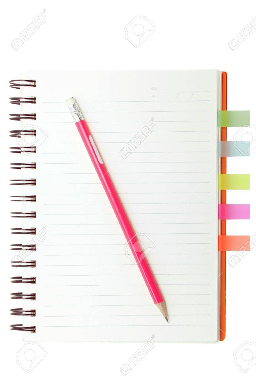 open ring binding book with color film index and red pencil Stock Photo - 10271002