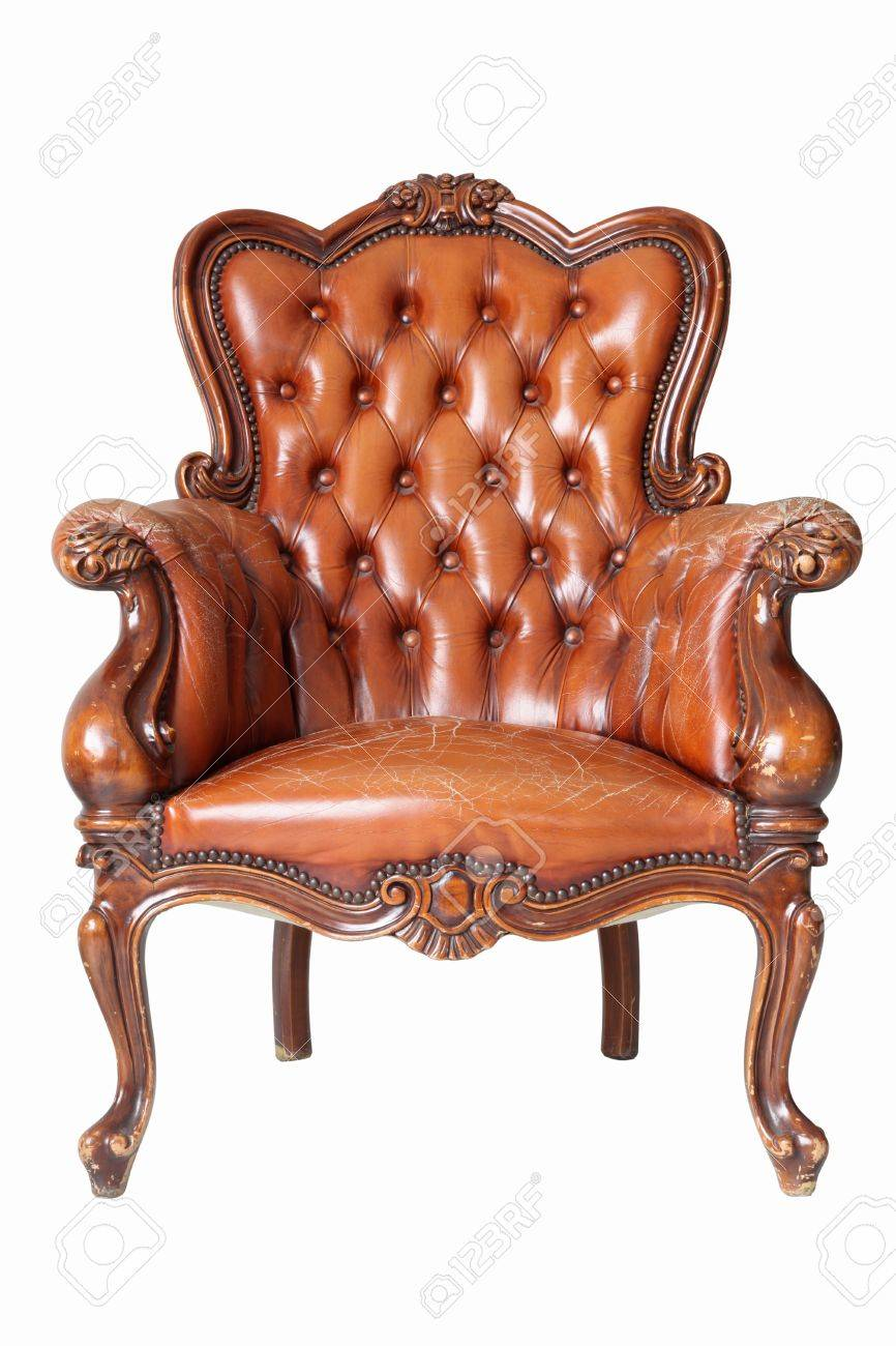 isolated Armchair brown genuine leather classical style sofa with clipping path Stock Photo - 10542042