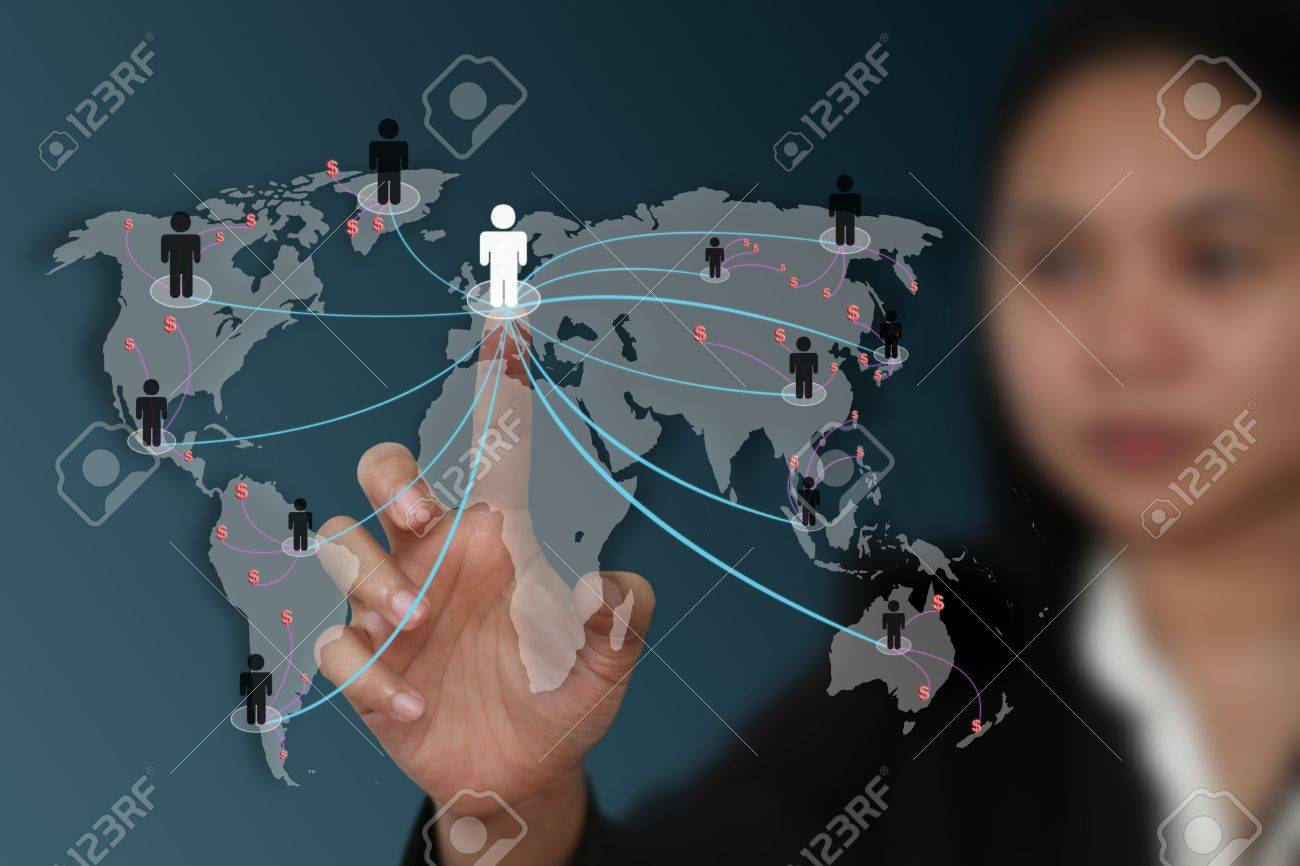 female hand touch on screen for social network marketing concept (selective focus on hand) Stock Photo - 10572444