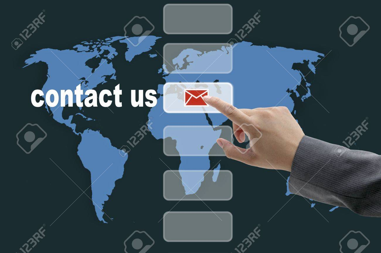 Male Business Hand Pushing On Contact Us Button With World Map Background Stock Photo 10649419