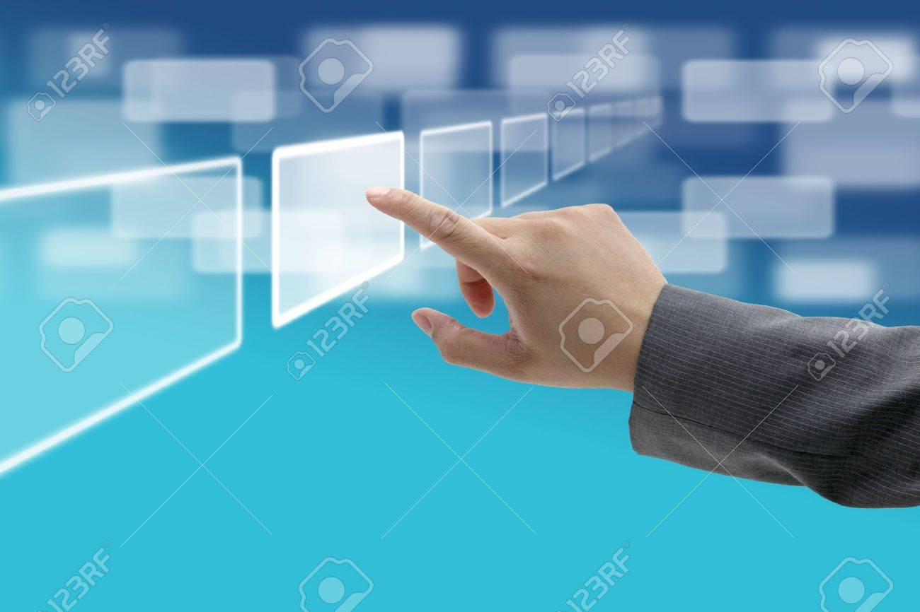 hand push on technology virtual touch screen interface Stock Photo - 10714515