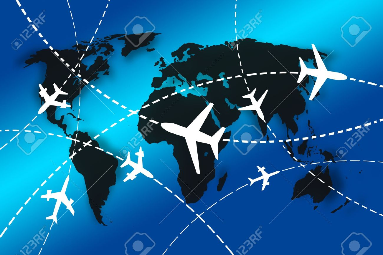 planes Routes around the world for travel concept Stock Photo - 10768263