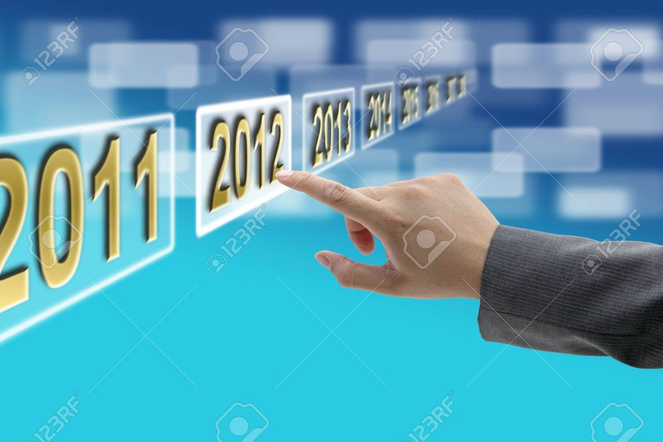 hand push on 2012 buttin technology virtual touch screen interface Stock Photo - 10852499