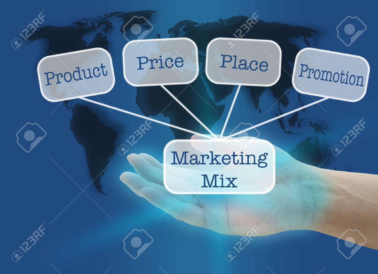 man hand hold business marketing mix concept with world map background Stock Photo - 10888722