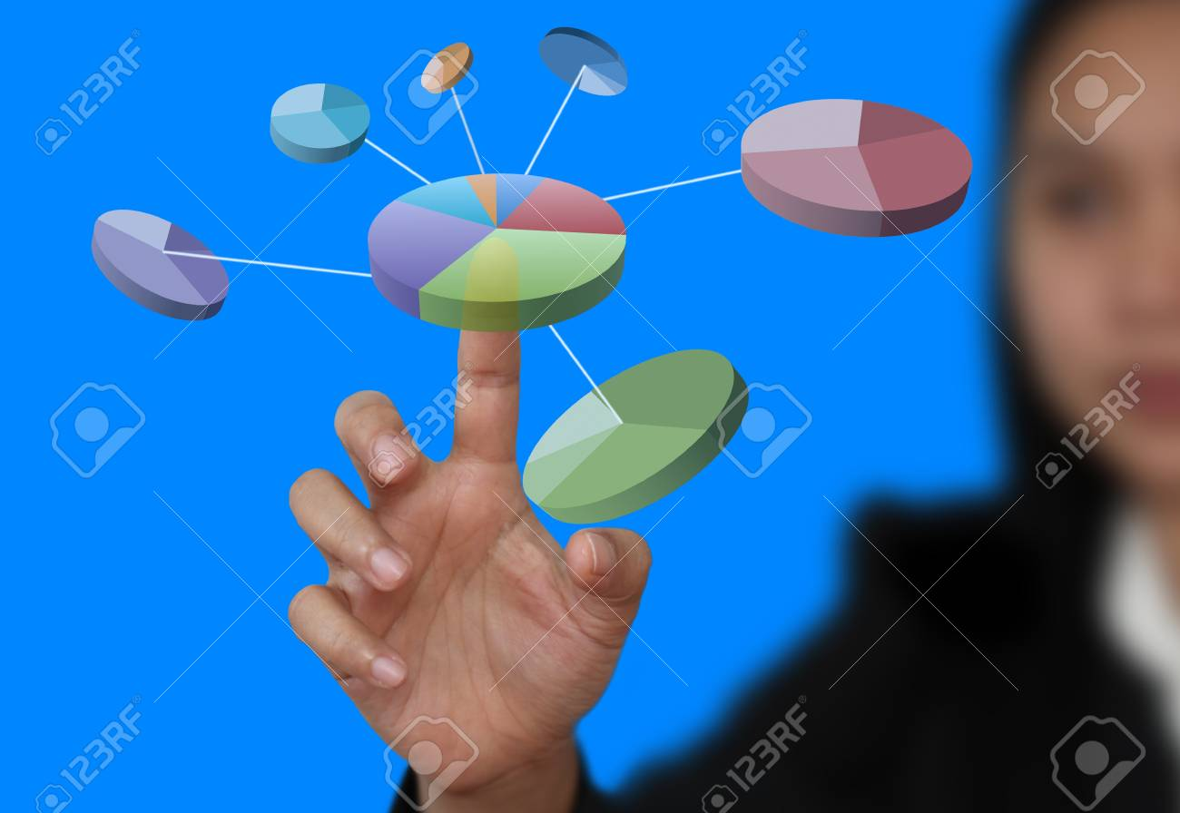 businesswman hand touch pie chart on technology virtual touch screen Stock Photo - 11559616
