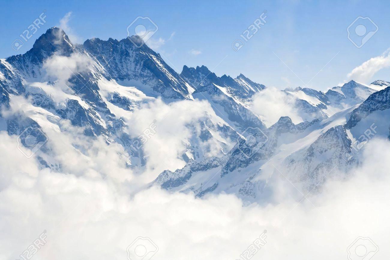 Alpine Alps mountain landscape at Jungfraujoch, Top of Europe Switzerland Stock Photo - 12331729