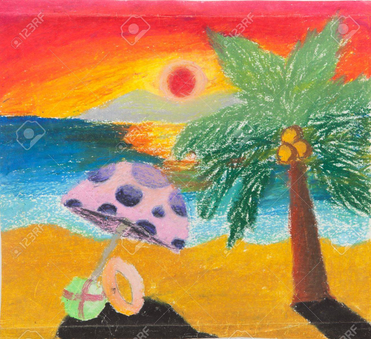 Drawings of Sunset at The Beach Sunset Free Hand Drawing
