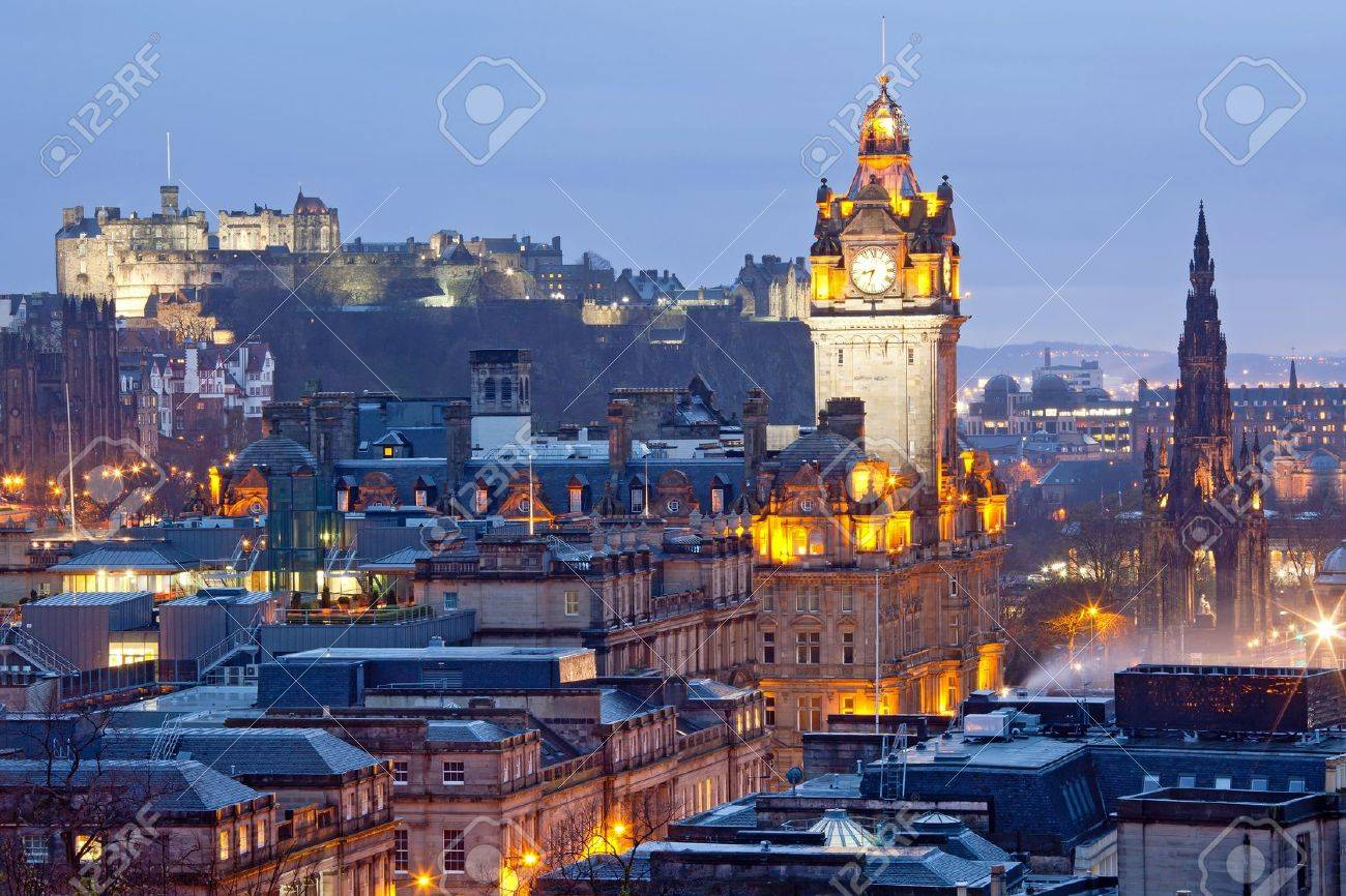Close up of Edinburgh Skylines Skyscrapers Castle and Monument from Calton Hill at dusk Scotland UK Stock Photo - 13353566