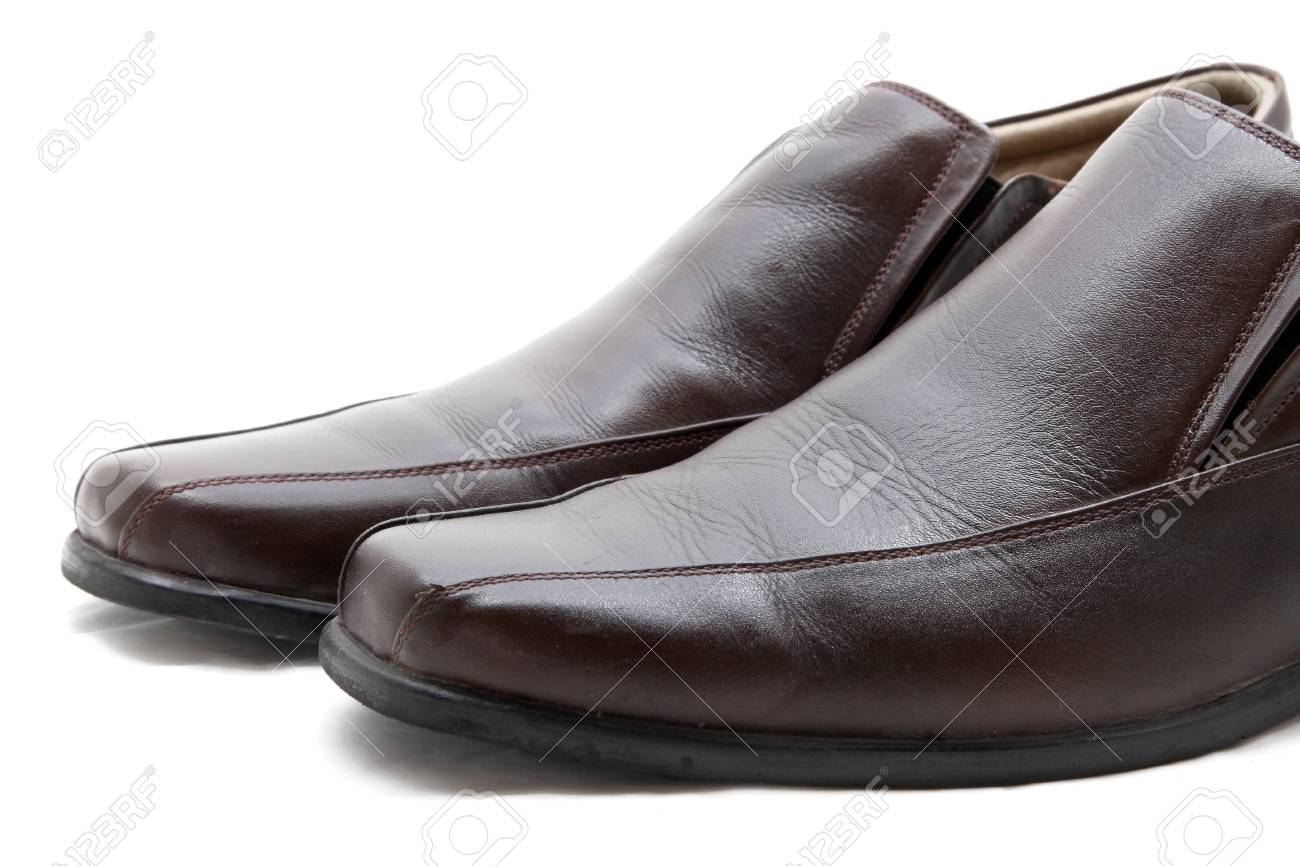 isolated pair of luxury brown leather man shoes on a white background, close up Stock Photo - 13828622