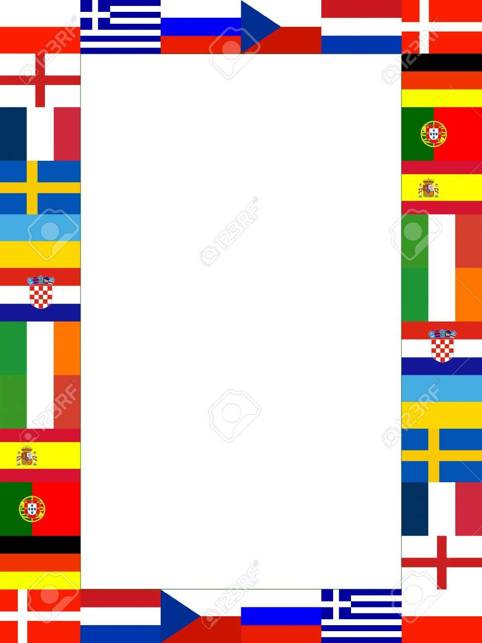 16 National Flag Frame Pattern With White Background Stock Photo ...