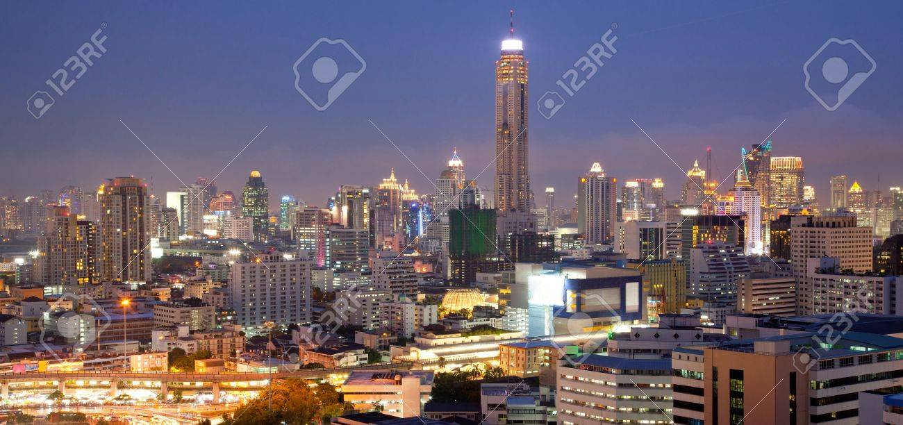 Panorama Aerial View of Bangkok Skylines at Victory Monument Downtown Cityscape at Dusk Stock Photo - 14773144