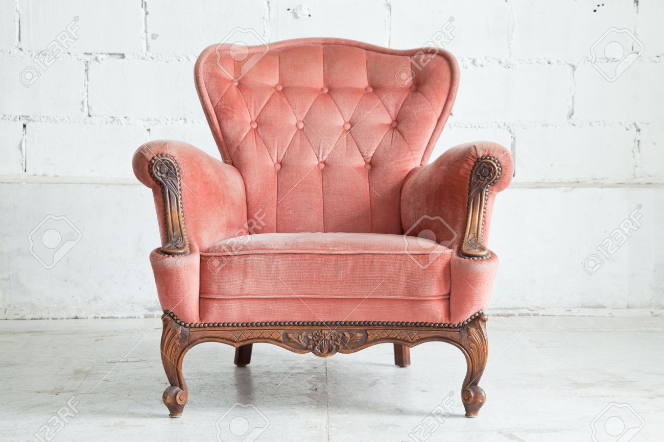 Pink Classical Style Armchair Sofa Couch In Vintage Room Stock Photo
