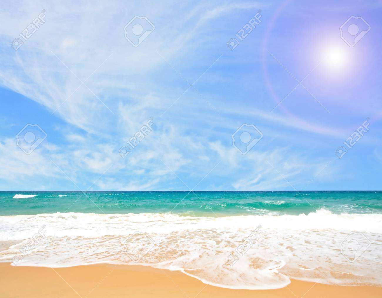 White Sand Beach with Perfect Sunny blue Sky at Phuket Thailand Stock Photo - 17192341