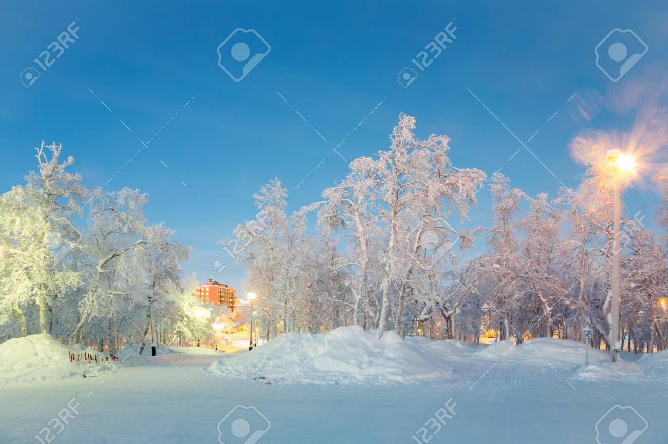 Winter landscape City Garden in Kiruna Sweden Stock Photo - 17481583