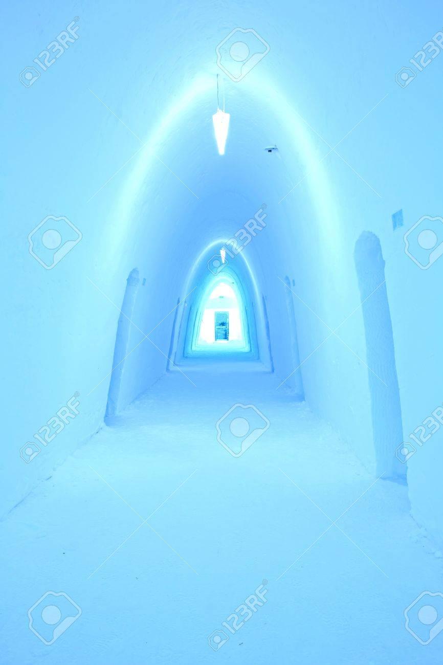 Colorfully illuminated corridor in an ice hotel Stock Photo - 17522907