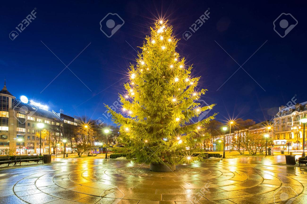 Christmas Tree Light In Oslo City Norway Stock Photo, Picture And ...