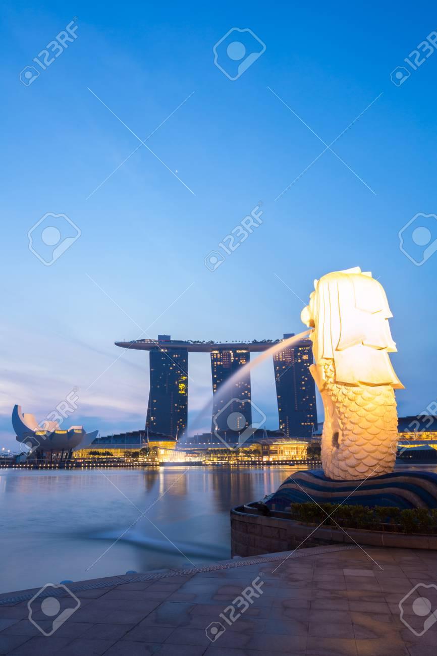 Closeup of Singapore Merlion at Marina bay sunrise