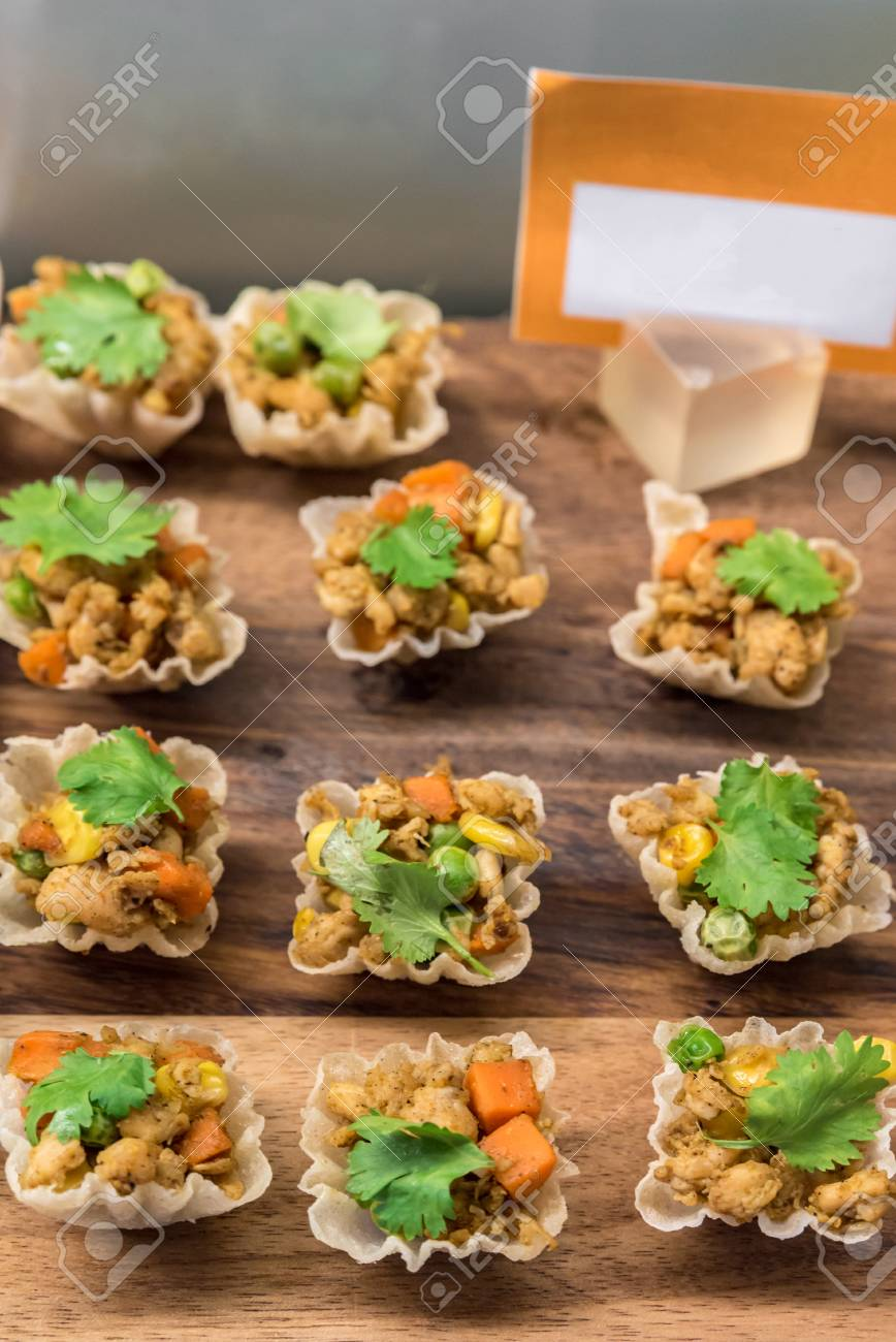 Tartlets With Chicken Salad Thai Style Stock Photo Picture And