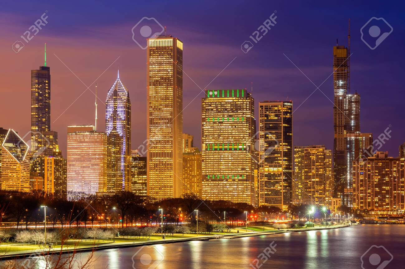 Sunset At Chicago Skylines Building At Chicago Downtown Along Stock Photo Picture And Royalty Free Image Image 120753865
