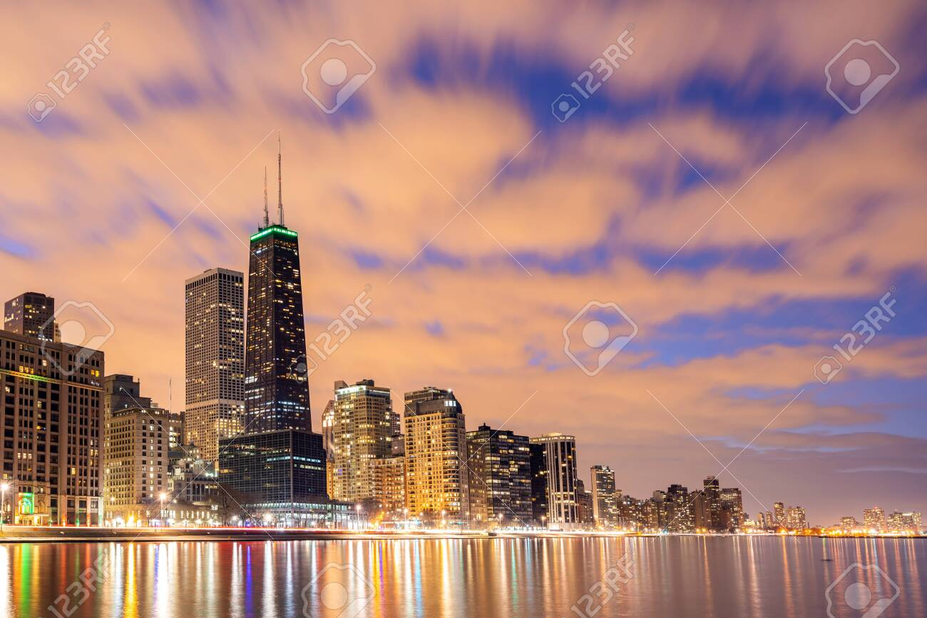 Sunset At Chicago Skylines Building At Chicago Downtown Along Stock Photo Picture And Royalty Free Image Image 120769664
