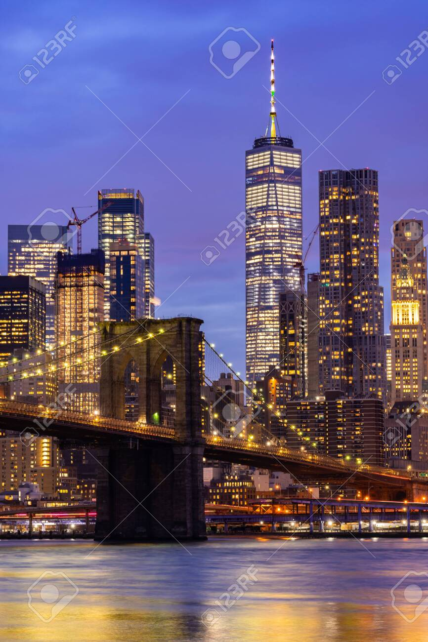 Brooklyn bridge with Lower Manhattan skyscrapers bulding for New York City in New York State NY , USA - 122349748