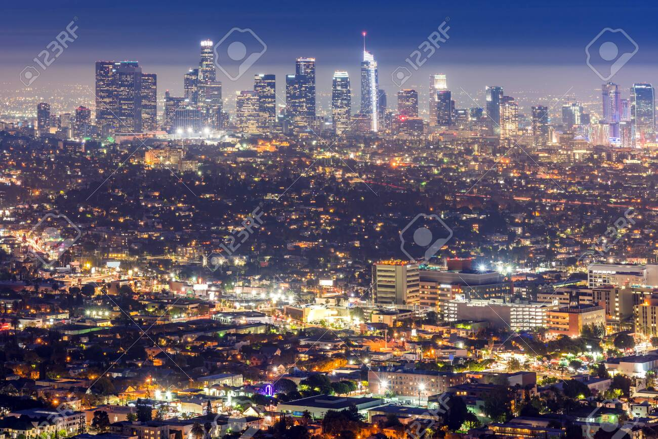 Los Angeles Downtown sunset aerial view, California, USA - 138080042