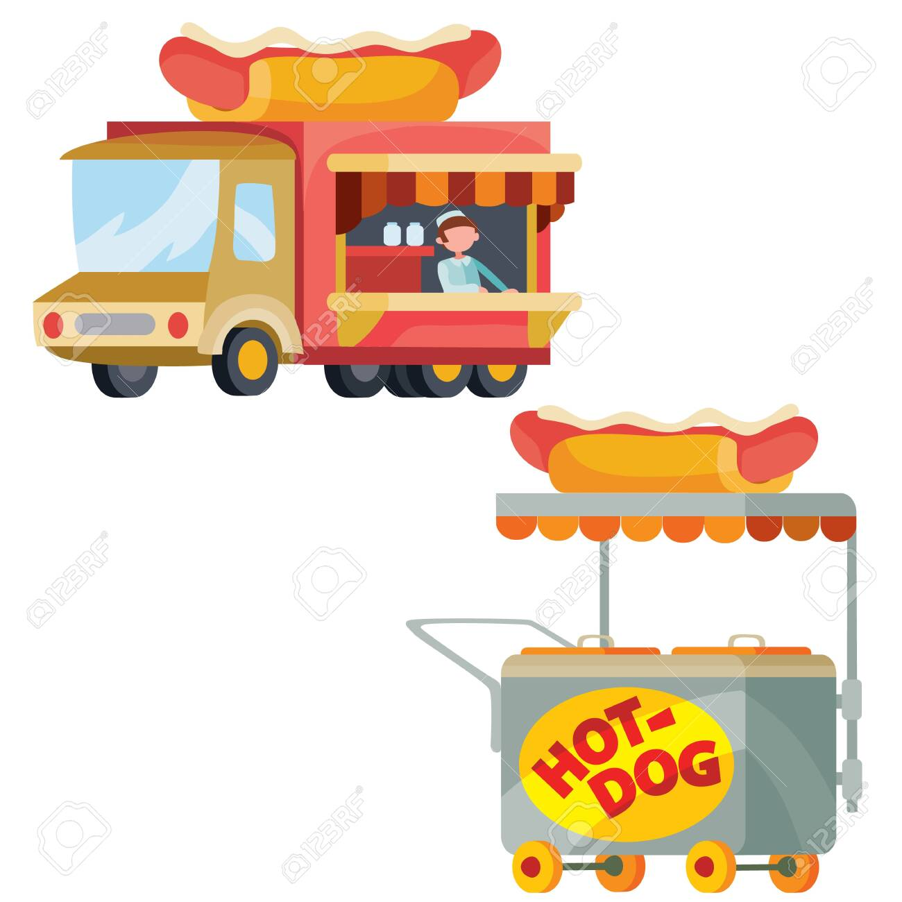 Food Truck And Street Cart Sell Hot Dogs Isolated Object On Royalty Free Cliparts Vectors And Stock Illustration Image 138111594