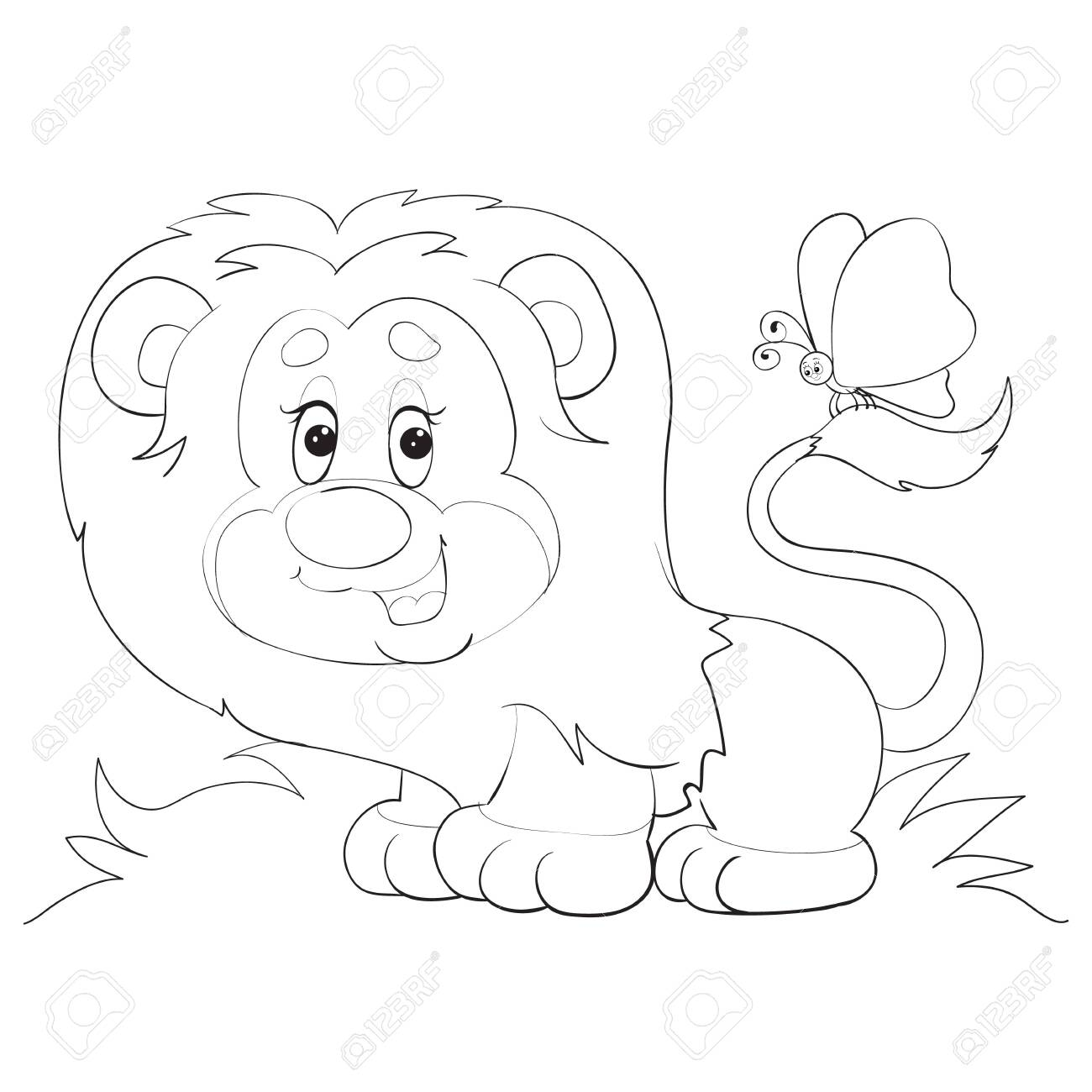 Cartoon Style Little Lion Cub With A Butterfly On Its Tail Drawn Royalty Free Cliparts Vectors And Stock Illustration Image 141989822 Audubon zoo's two lion cubs explore outside in their habitat. cartoon style little lion cub with a butterfly on its tail drawn