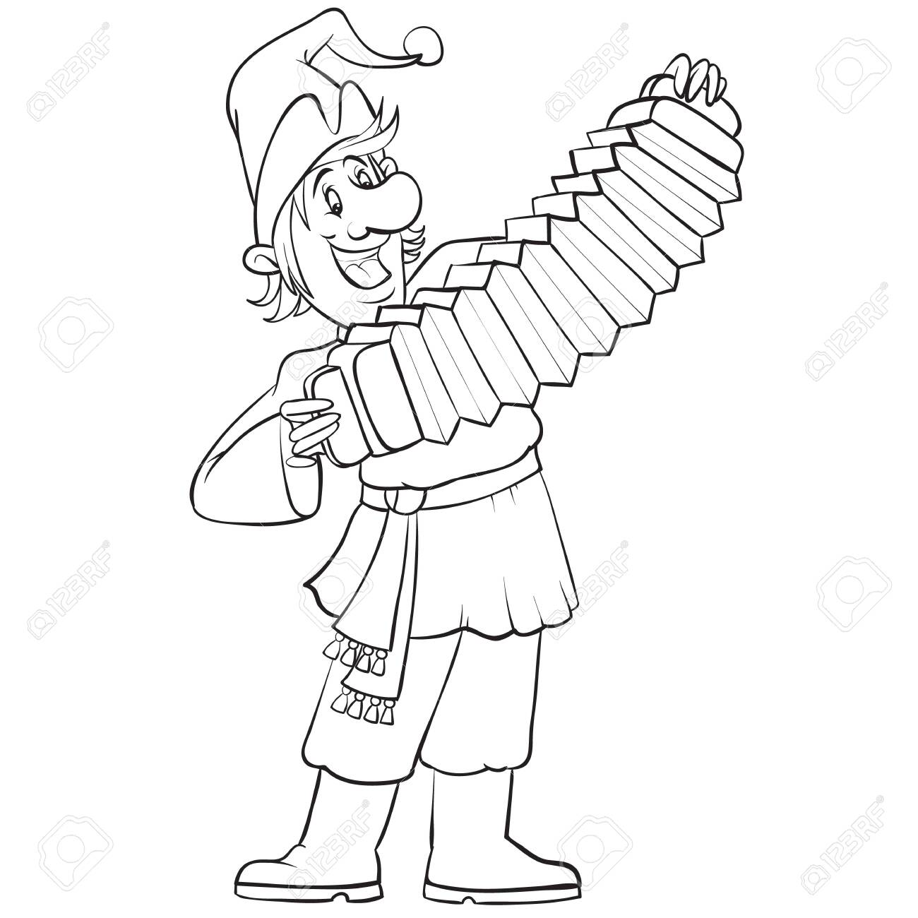 Russian buffoon plays the accordion at the fair drawn in outline, isolated object on a white background, vector illustration, - 141989825