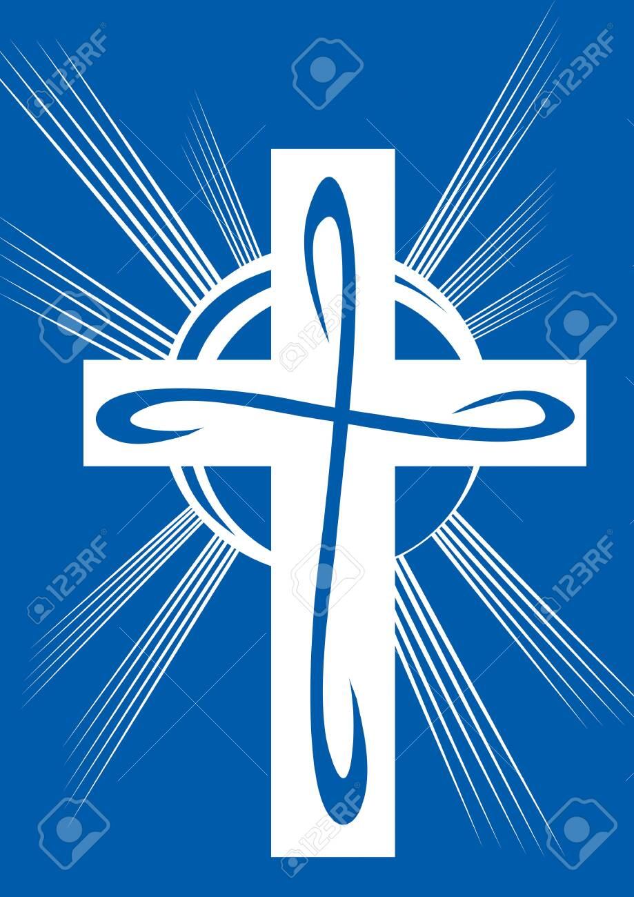 stylized cross in white on a blue background, vector illustration - 144563358