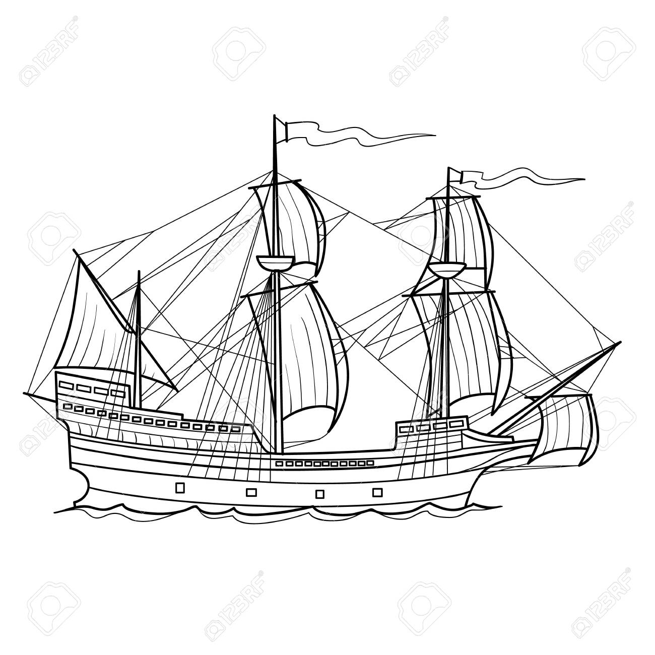sketch of an old sailing ship, coloring book, isolated object on white background, vector illustration - 152714792