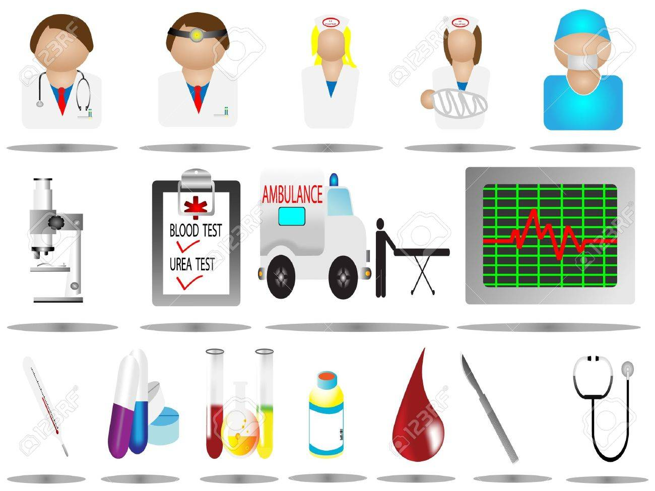 vector illustration hospital icons, hospital and medical icons set,Medical and Hospital Centre icons,easy to edit,microscope icon,nurse icon,doctor icon, Stock Vector - 9323179
