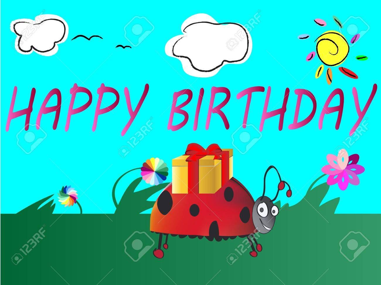 cute happy birthday card Stock Vector - 12184830