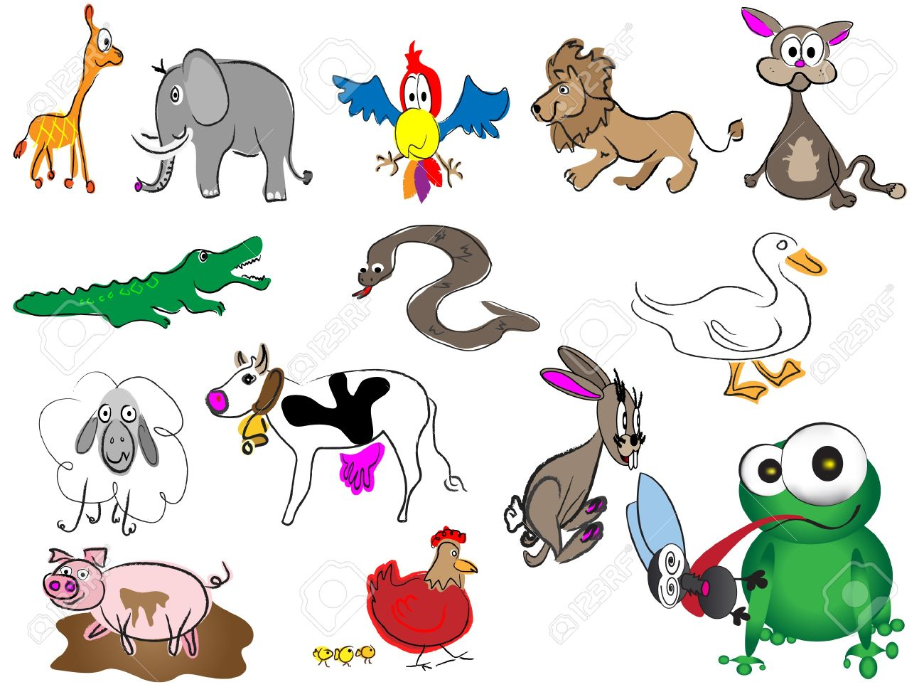 The zoology coloring book - Personality Adorable Cartoon Hand Drawn Animals Illustration