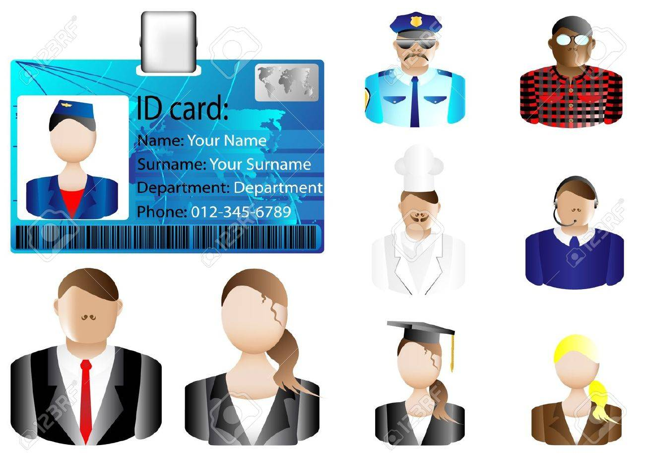 Identification card icon and various avatars Stock Vector - 12887406
