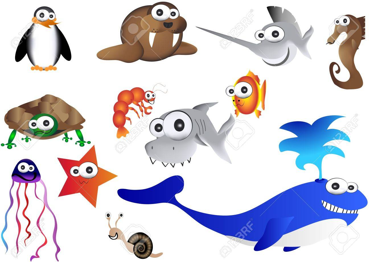 sea animals illustration of ocean life royalty free cliparts