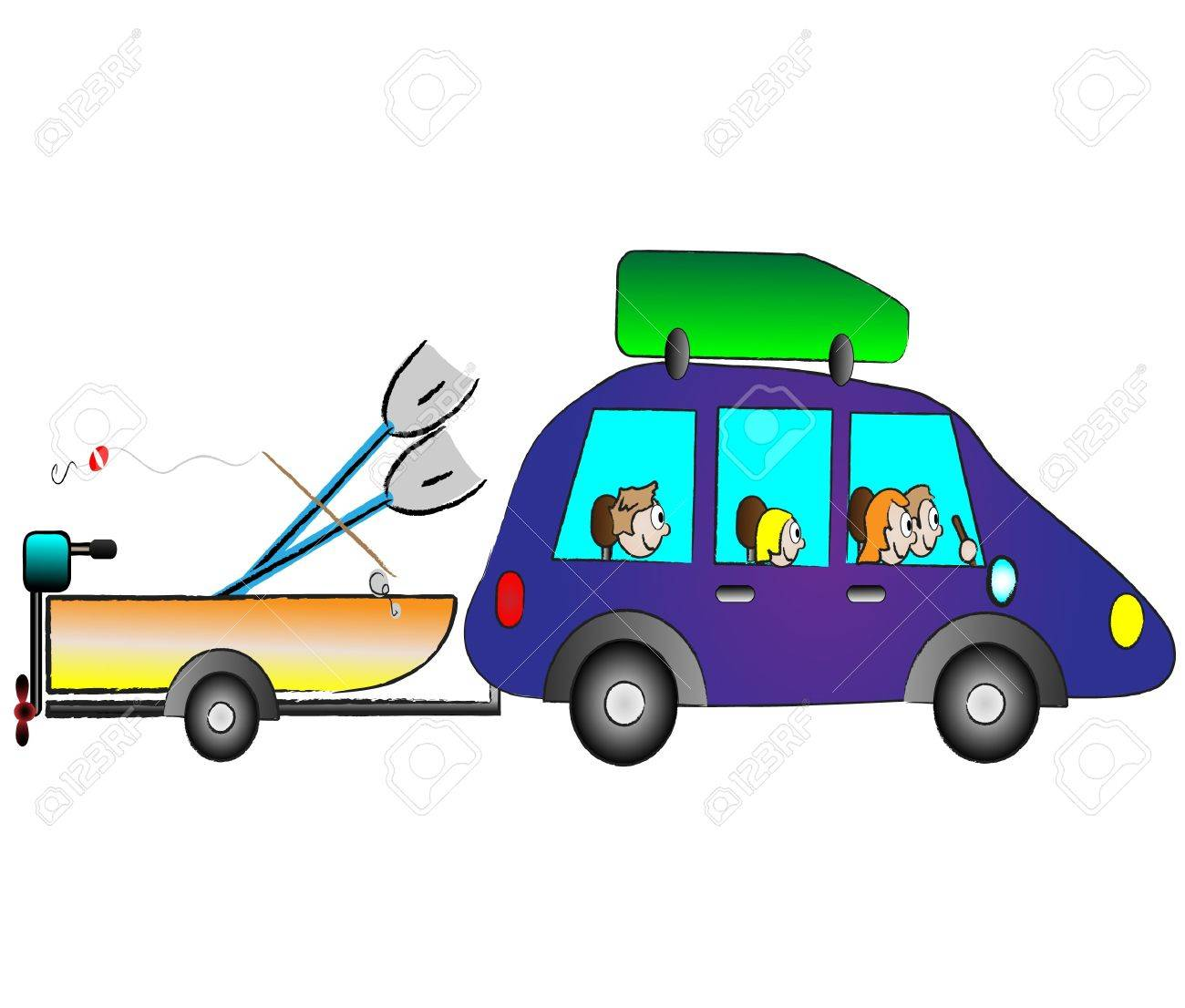Happy Family Traveling On Holiday By Funny Car Royalty Free ...